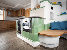 Kitchen stove with kitchen bench