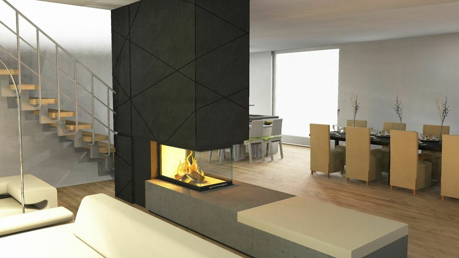 Planning for a panoramic fireplace